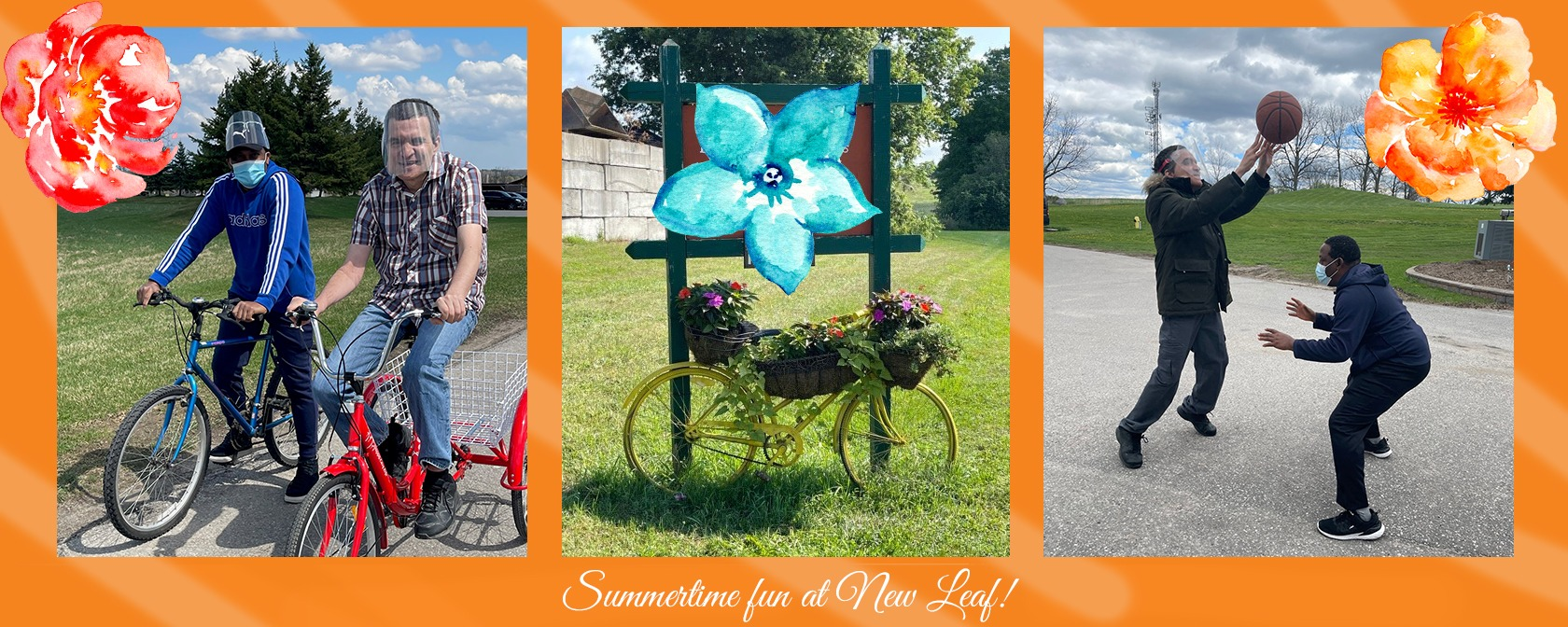 montage of summer fun at new leaf